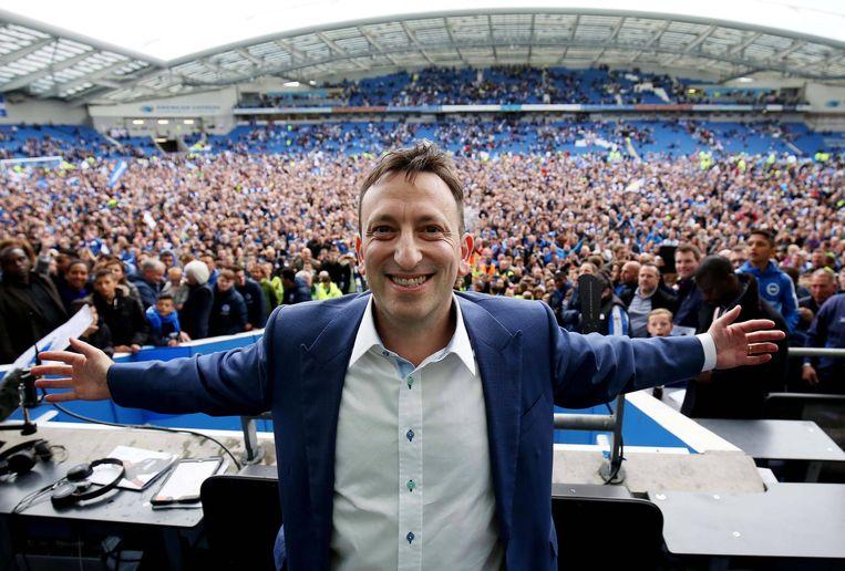 Tony Bloom bij de promotie van Brighton naar de Premier League.