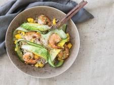 Wat Eten We Vandaag: Japanse noedelsalade met mango en reuzengarnalen