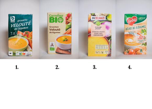 Groentensoepen: 1. Boni Groentevelouté, 2. Carrefour Bio Groenten velouté, 3. Delhaize Soup, 4. Liebig 8 groenten