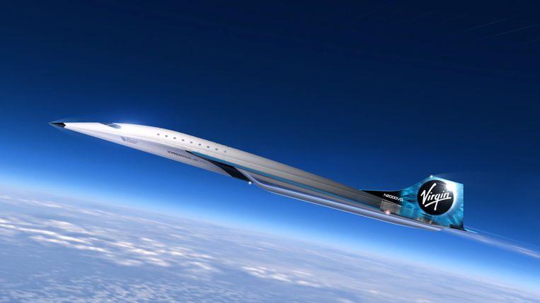 Een ontwerp voor de nieuwe supersonische jet van Virgin Galactic.
