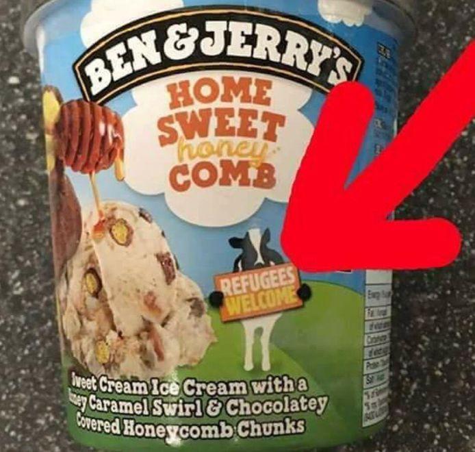 NVU-leider Constant Kusters geeft met een dikke rode pijl aan wat hem niet bevalt aan ijs van Ben & Jerry's.