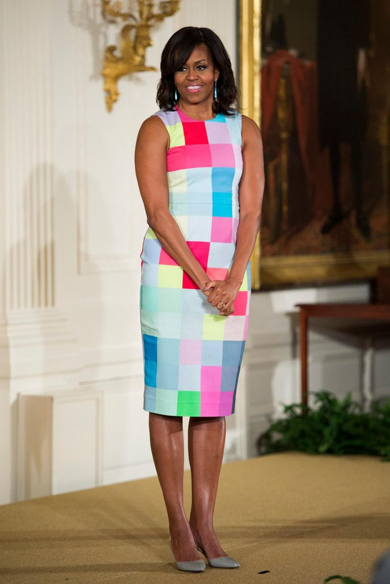 First Lady Michelle Obama bij een ceremonie in 2015. Beeld epa