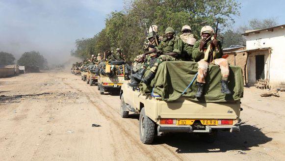 Tsjadische soldaten patrouilleren in het grensgebied bij Nigeria.