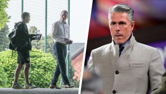 Links: Van Eetvelt dinsdag bij het verlaten van het oefencomplex van Anderlecht. Rechts: Michael Verschueren, die uit het management stapt.