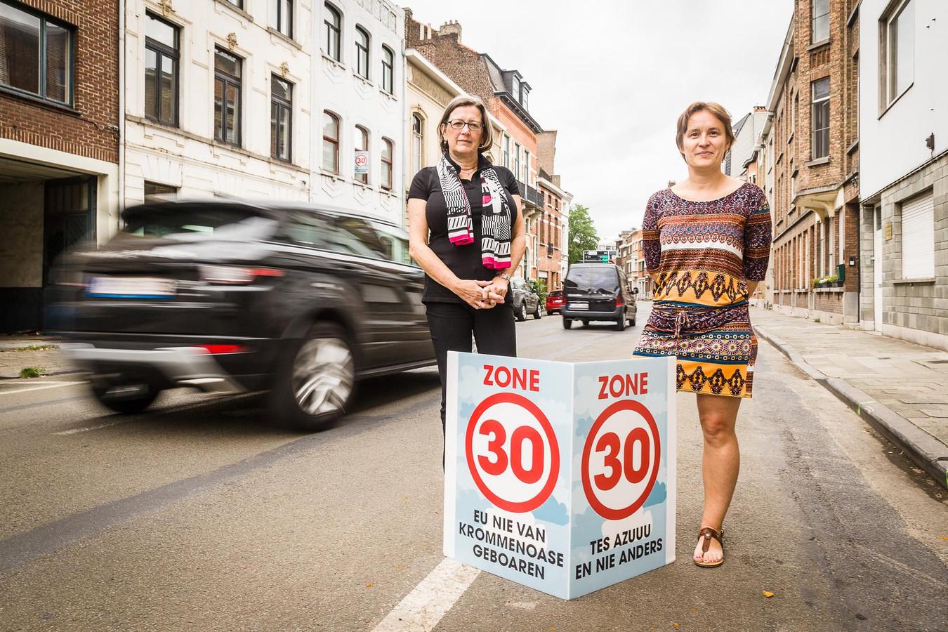 Initiatiefnemers Josiane Tytens en Hilde Meersman in de Rozemarijnstraat.