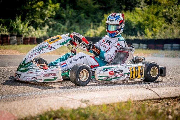 Kas Haverkort in de kart van SFR Motorsport, waarmee hij zondag op het circuit van Kerpen de eerste ronde won van het ADAC Kart Masters-kampioenschap in de prestigieuze OK-klasse.