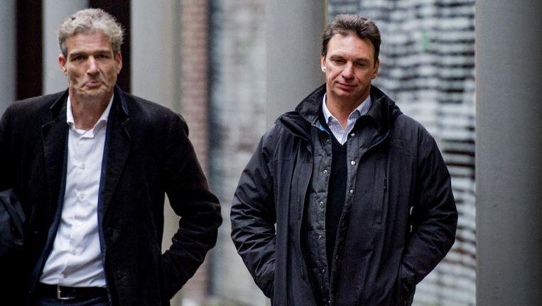 Willem Holleeder (R) met zijn advocaat Stijn Franken. Beeld anp