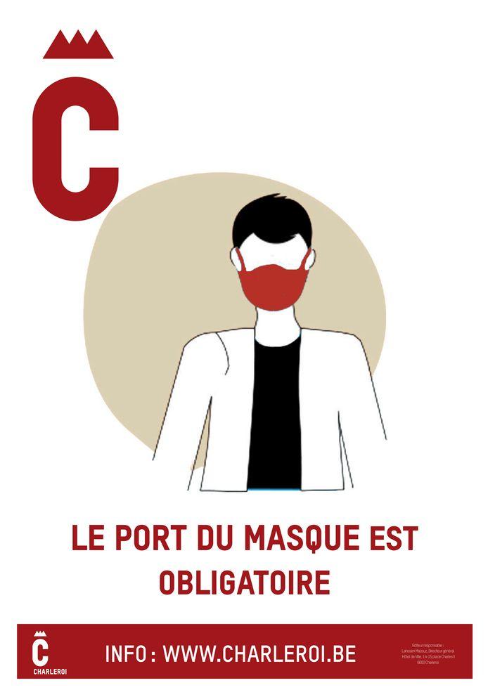 Affiche de la Ville de Charleroi sur le port du masque obligatoire