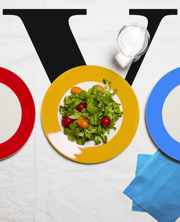 De cover van Volkskrant-bijlage V over het eten bij Google. Beeld Studio V