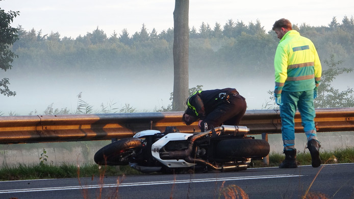 De motor als stille getuige van een dodelijk ongeval in Havelte donderdagmorgen.