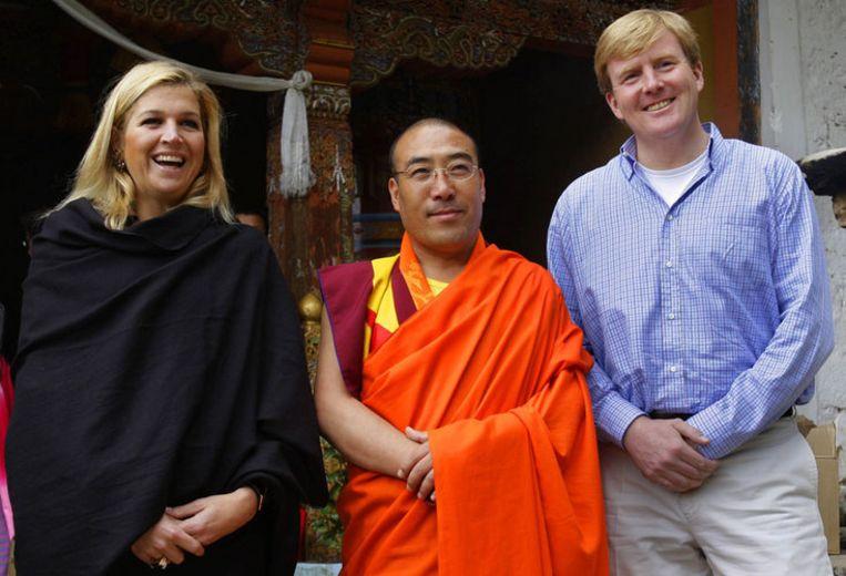 Prins Willem-Alexander en prinses Maxima op staatsbezoek in het Aziatische Bhutan in 2007. De op handen zijnde reis naar de Golf is gericht op de versterking van de economische samenwerking. Foto ANP/Robin Utrecht Beeld