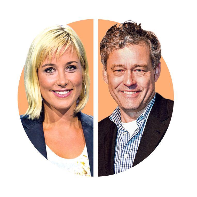 Carrie ten Napel (39) is sportjournaliste. Ze presenteert het NPO Radio-1 programma De Perstribune. Charles Groenhuijsen (65) werkte onder meer voor de NOS, als Amerika-correspondent.  Beeld ANP, HH