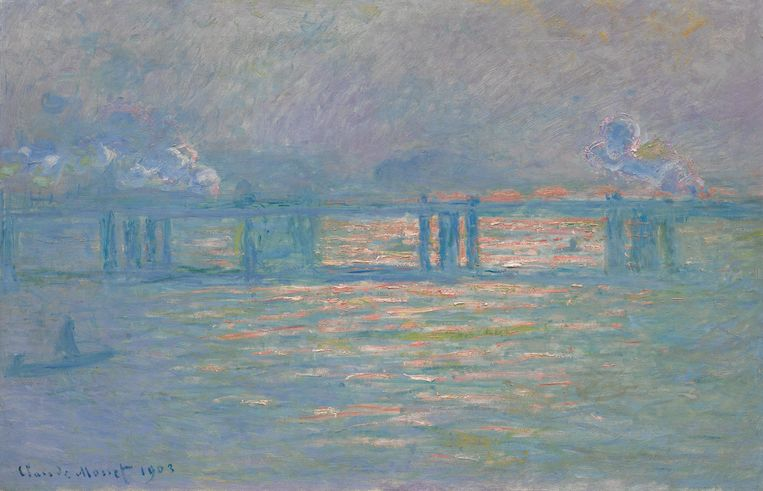 Avondveiling 12 november kavel 8: Claude Monet, Charing Cross Bridge, 1903, geschatte opbrengst: 18-27 miljoen euro. Beeld Courtesy Sotheby's