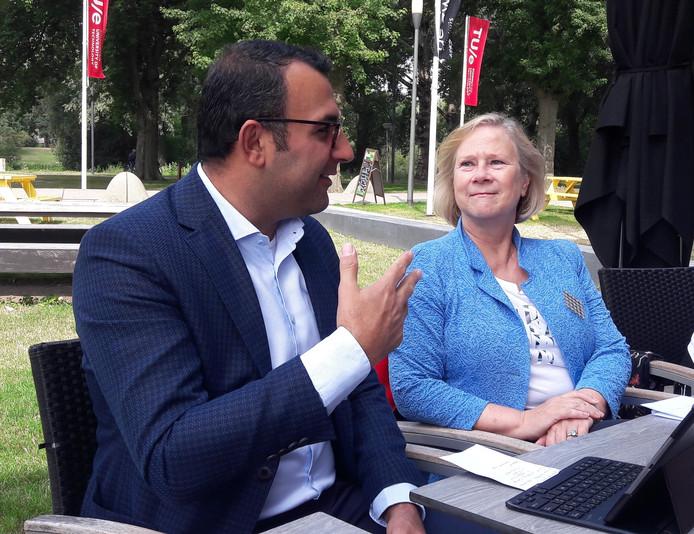 Wethouder Yasin Torunoglu en directeur Ingrid de Boer van woningcorporatie Woonbedrijf tijdens het persgesprek over de tijdelijke studenthuisvesting.