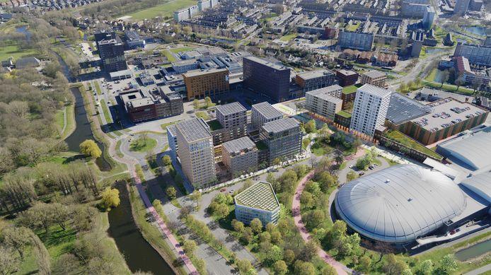 De nieuwe parkeergarage staat ingetekend tussen ziekenhuis en Sportboulevard, rechts in beeld onder de geplande flat.