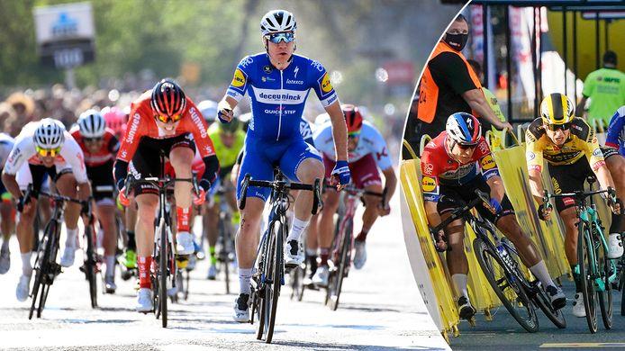 Links: Jakobsen won vorig jaar de Scheldeprijs, rechts: de zware crash in de Ronde van Polen.