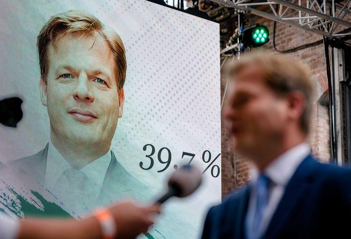 Pieter Omtzigt na afloop van de bekendmaking van de eerste stemmingsronde voor de lijsttrekkersverkiezing van het CDA.