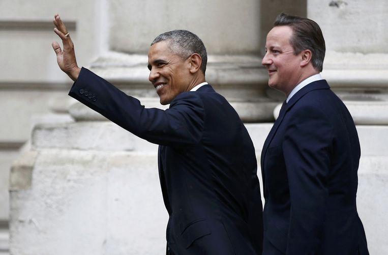 De Amerikaanse president Barack Obama op bezoek bij de Britse premier David Cameron.