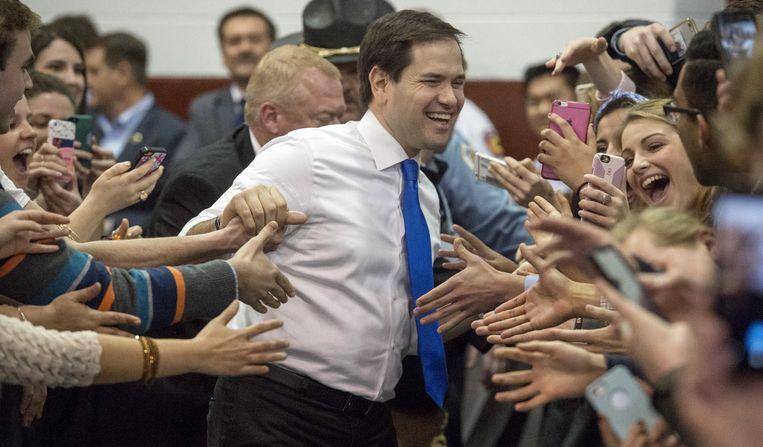 Rubio op een bijeenkomst in Salem in Viriginia. Beeld ap