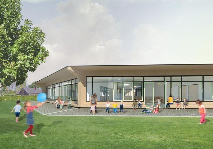 Zo zal het nieuwe wijkschooltje in de wijk Buerstede eruitzien. Dit is de buitenruimte aan de kleuterklassen.