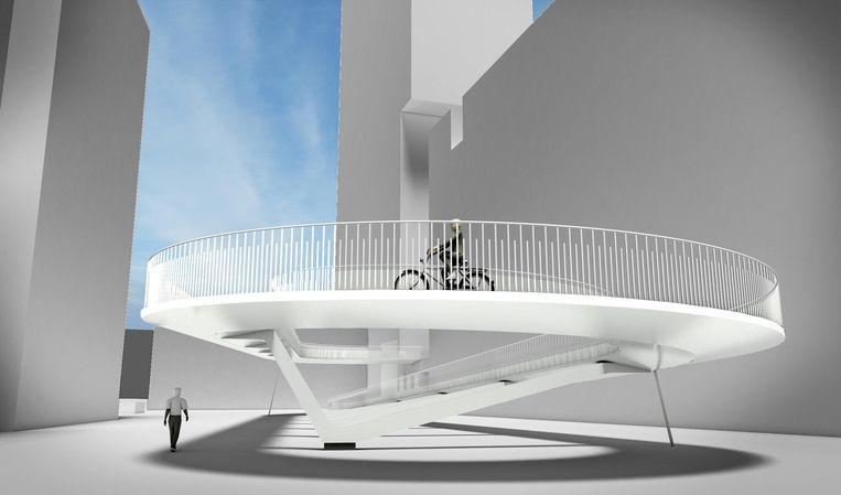 De fietshelling is 140 meter lang en vormt een lus. De bouw start normaal gezien vanaf april 2018.