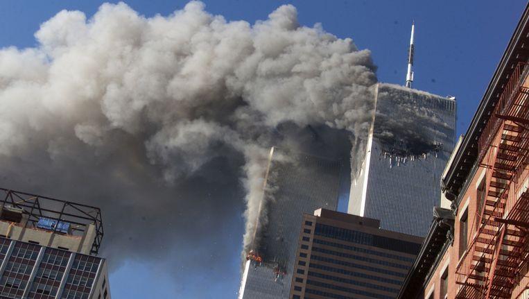 Twin Towers in New York tijdens de aanslag op 9/11. Beeld ap