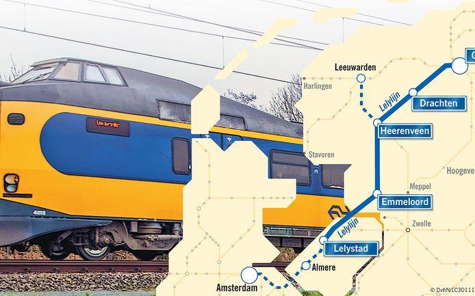 Het tracé van de Lelylijn.