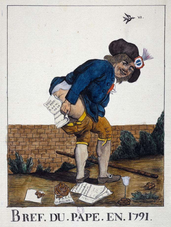 """""""Bref du Pape en 1791"""". Estampe"""