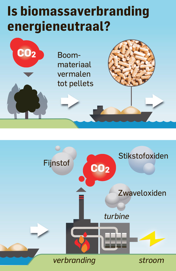 Ook biomassacentrales hebben milieu-onvriendelijke uitstoot