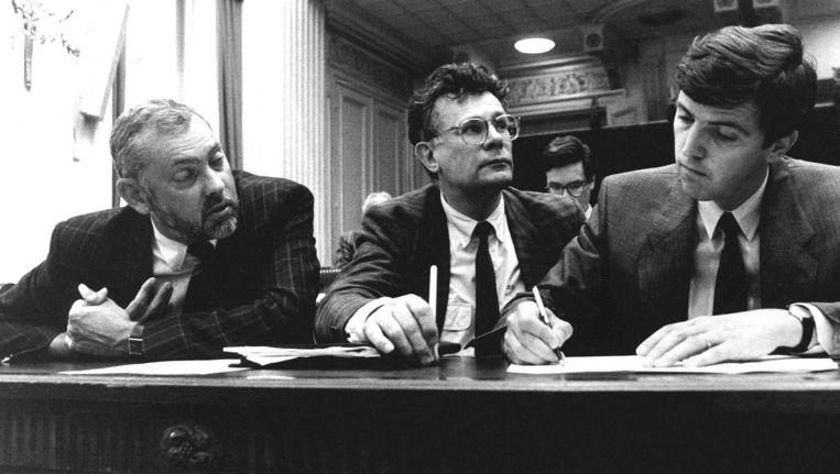 Frans Jozef Van Der Heijden (CDA), Aad Kosto (PvdA), en voorzitter van de parlementaire enquetecommissie Loek Hermans (VVD) Beeld anp