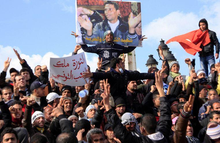 Tunesische demonstranten Beeld AP