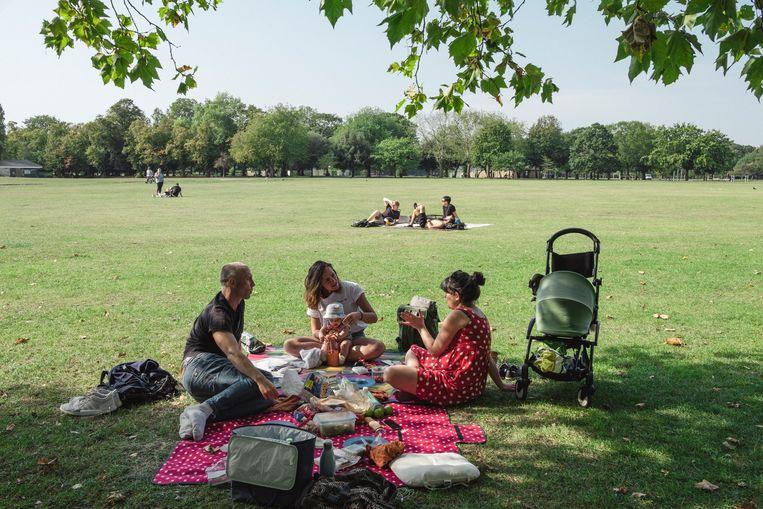 Britten genieten van het mooie weer in het park en houden zich aan de Rule of Six. Beeld Carlotta Cardana