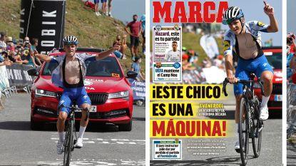 """Grootste sportkrant van Spanje zet Evenepoel naast Hazard op de voorpagina: """"Deze jongen is een machine!"""""""