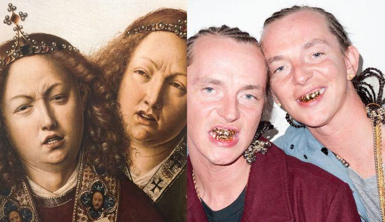 Links: een detail van het Lam Gods van Jan van Eyck. Rechts: The ATL Twins. Beeld null