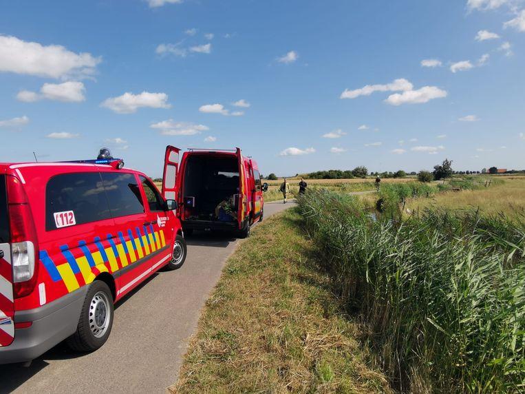 De brandweer van Veurne snelde ter plaatse om het kalfje te redden.