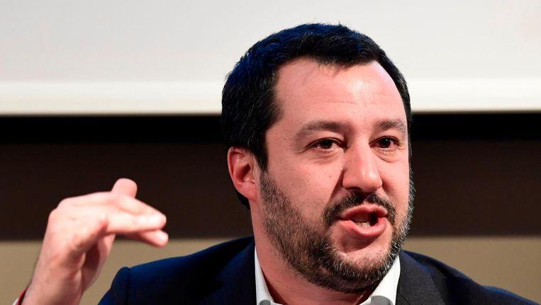 Matteo Salvini, de partijleider van de Italiaanse extreemrechtse partij Lega Nord. Beeld afp