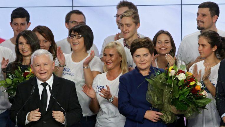 Kaczynski en Szydlo na hun overwinning Beeld afp