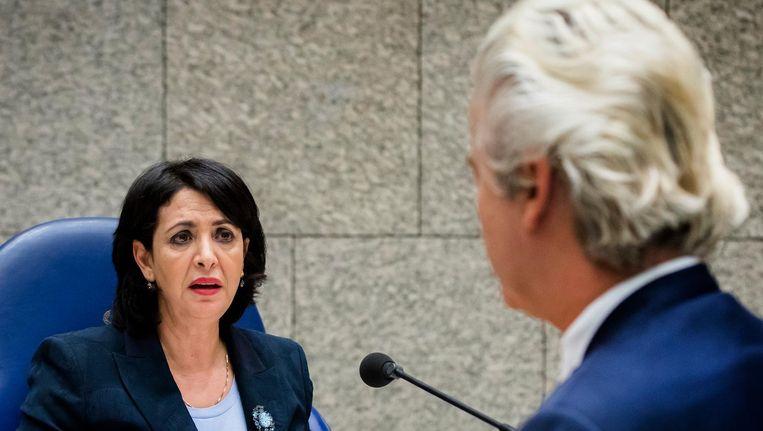 Arib tegenover PVV-leider Geert Wilders in de Tweede Kamer Beeld anp