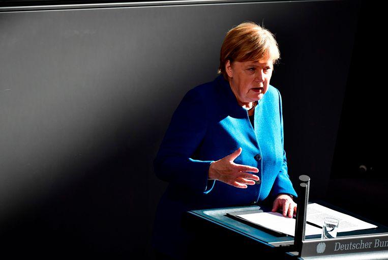 Angela Merkel tijdens haar toespraak in Berlijn vanmiddag.