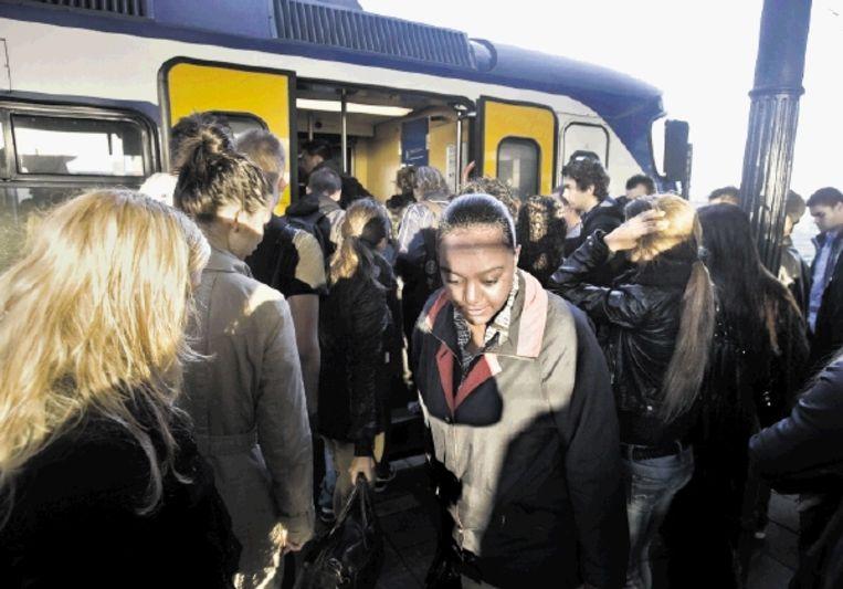 Reizigers stappen in Geldermalsen in de sprinter naar Utrecht. (FOTO'S KOEN VERHEIJDEN ) Beeld