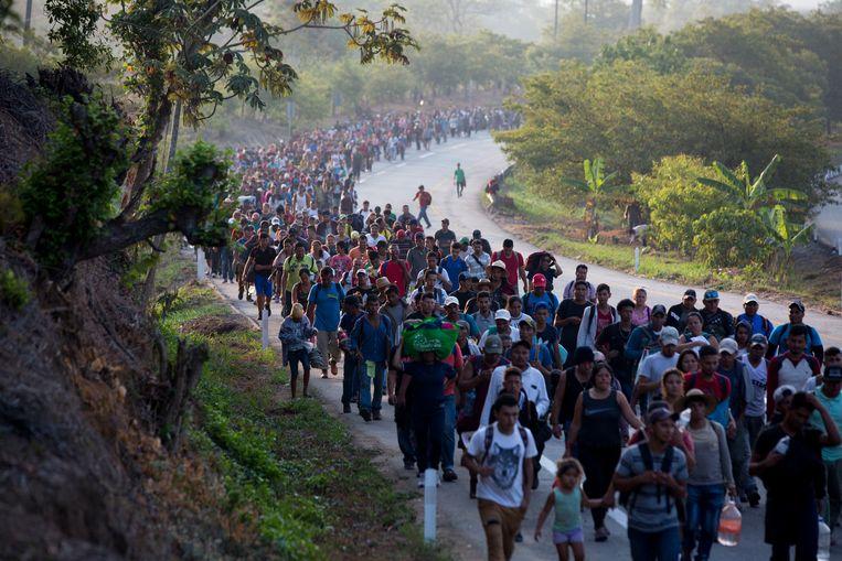 De migrantenkaravaan in Escuintla, Chiapas, Mexico.