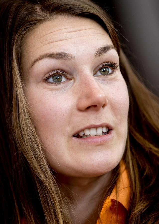 2019-02-26 13:27:24 ARNHEM - Maureen Koster tijdens de teampresentatie op Papendal voor de EK Indoor Atletiek. ANP KOEN VAN WEEL