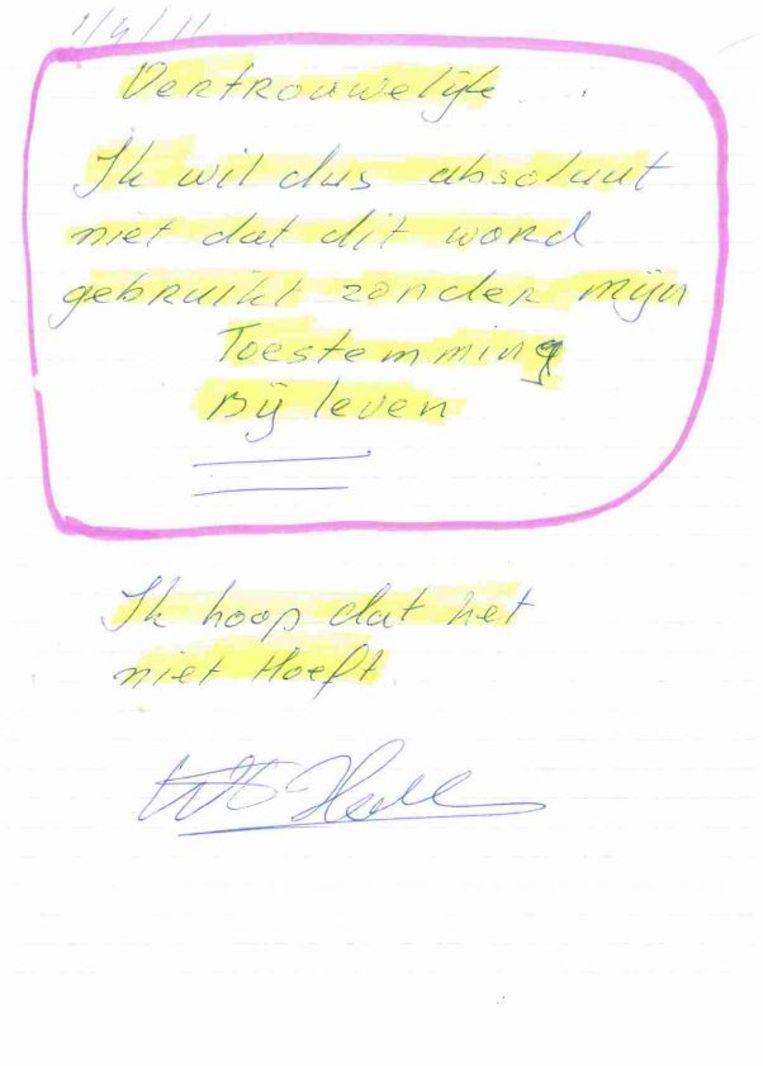 Brief van Holleeder aan Peter R. de Vries. Beeld de Volkskrant