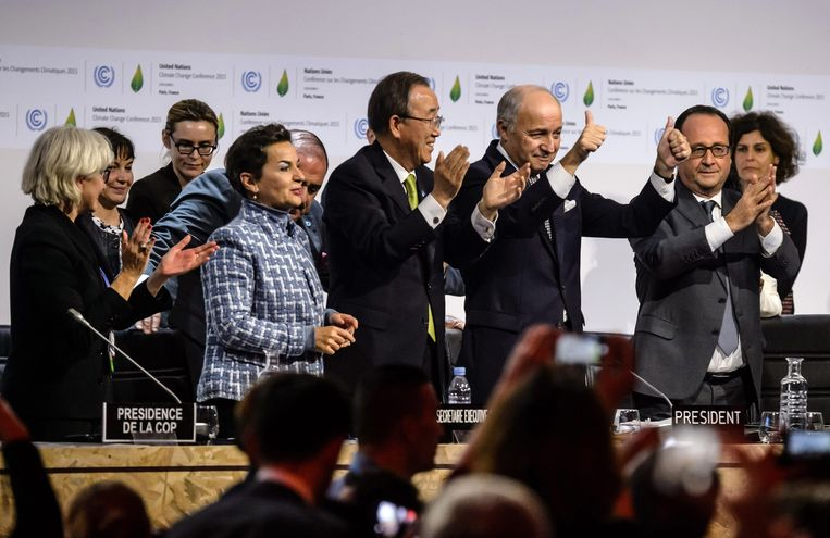 Vreugde over het bereiken van het klimaatakkoord in 2015. Beeld EPA