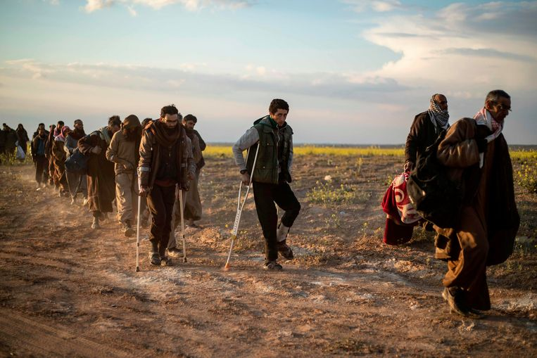 Van jihadisme verdachte strijders die zich hebben overgegeven aan Syrische troepen. Beeld AFP