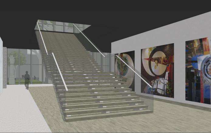 De aanvankelijke opzet voor herplaatsing van de glasmozaieken bij een trappenhuis op de begane grond.