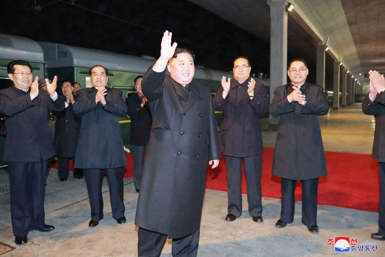 Kim Jong-un voor zijn vertrek richting Rusland.