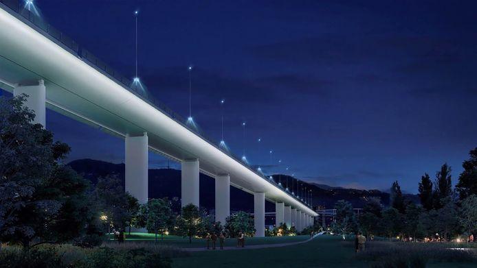 Het ontwerp van de nieuwe brug van architect Renzo Piano.