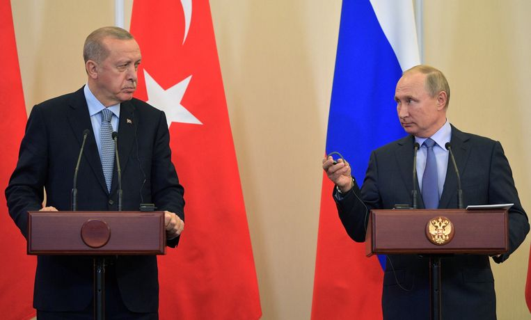 De Russische president Vladimir Putin en de Turkse president Tayyip Erdogan.