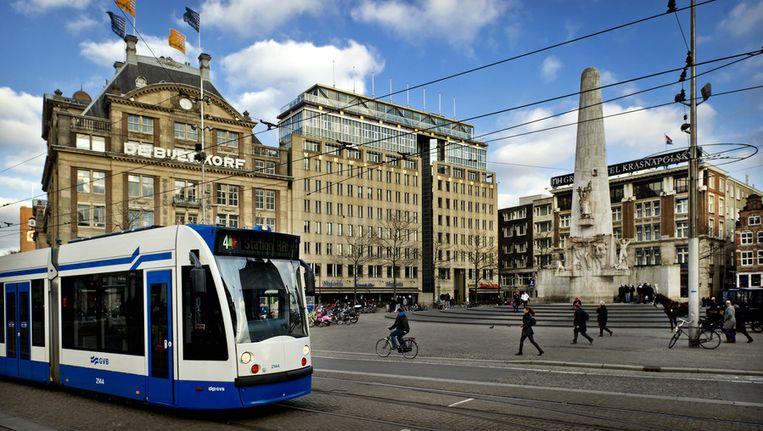 Een tram op de Dam. Beeld ANP